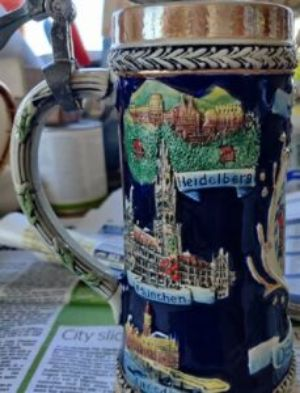 repaired pottery stein
